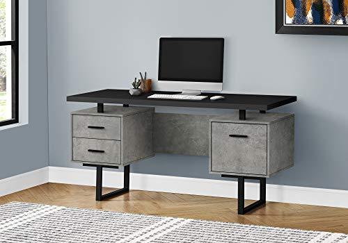 Monarch Specialties Laptop/Writing Floating Desktop-3 Storage Drawers-Reversible-Large Home Office Computer Desk, 60' L, Black Top/Grey Concrete-Look