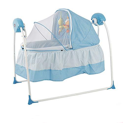 Thole Babywiege Schaukel Elektro StäNder Rocking Music Fernbedienung Schlafkorb Bett Neugeborenen Sway Baby Schaukel,Blue