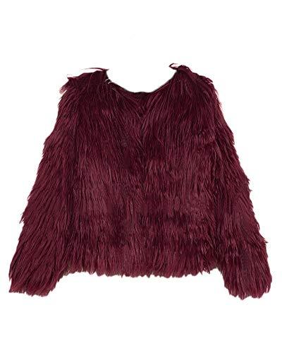 Mujer Elegante Color Sólido Abrigo Corto Chaqueta Invierno Cárdigan de Piel Sintética Parka Outwear Vino Rojo XL
