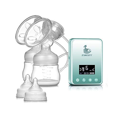 Electric Breast Pump - SUMGOTT Rechargeable Digital LCD Display Dual Silicone Breastfeeding Pump
