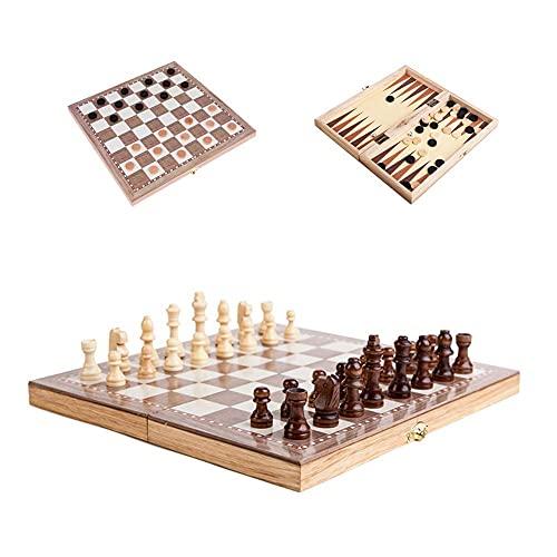 RENFEIYUAN 3 en 1 Juego de Tablero de ajedrez de Madera, Conjunto de chessbackgammondraughts Plegable portátil de 12 Pulgadas, Regalo Educativo de Rompecabezas para niños ajedrez Damas