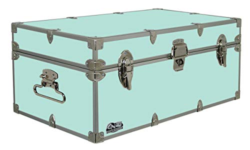 C&N Footlockers Happy Camper Storage Trunk - Summer Camp Chest - Durable with Lid Stay - 32 x 18 x 13.5 Inches (Mint)