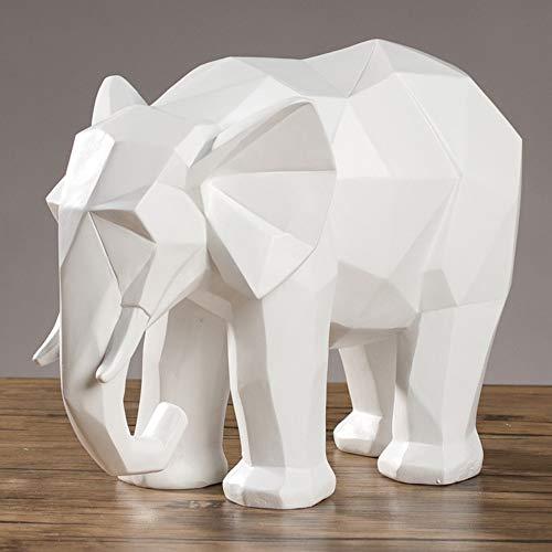 DAJIADS Figura,Figuras,Estatuas,Estatuillas,Esculturas,Forma Animal Sencillo Origami Elefante Home Decoración Arte De Salón Dormitorio Oficina Artesanía,Blanco