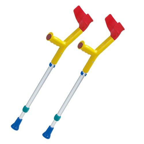 2x REBOTEC FUN-KIDS Unterarm-Gehstützen made in Germany Gehhilfen Krücken für Kinder in gelbbunt