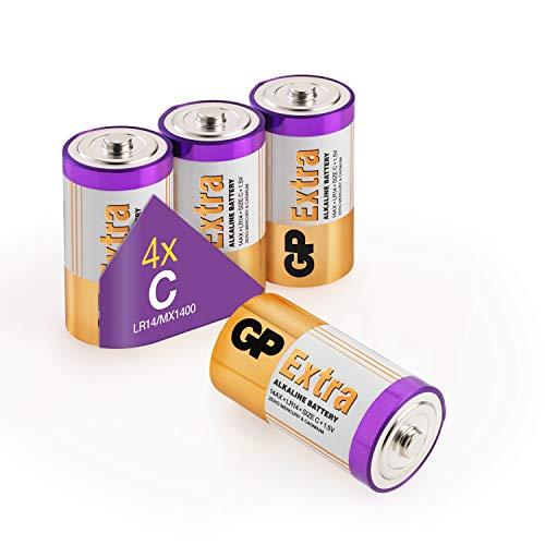 GP - Pack de 4 Pilas C alcalinas (LR14) 1.5V - Duración y Rendimiento excepcional - LR14 / 14AU / 1.5 Voltios
