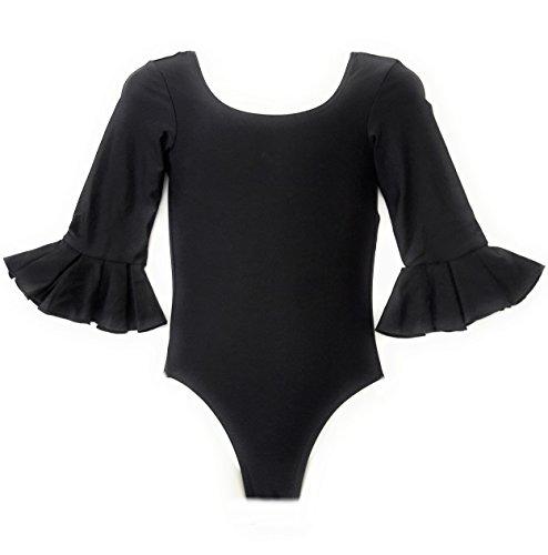 selecte-plus - Body para mujer, color negro para flamenco y danza (S)