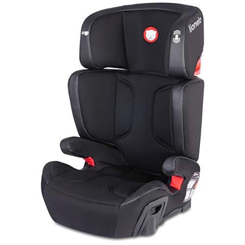 Lionelo Hugo Kindersitz 15-36 kg Autositz Gruppe 2 3 Isofix Seitenschutz einstellbare Kopfstütze zwei Getränkehalter Montage mit Fahrzeuggurten möglich (Schwarz)