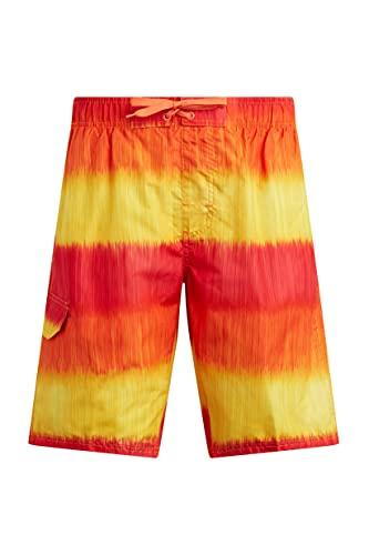 Kanu Surf Men's Legacy Swim Trunks (Regular & Extended Sizes), Zipline Red/Orange, Medium