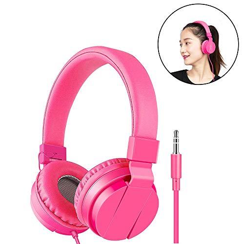 HUANZHCHP Opvouwbare leggings on ear oortelefoon voor kinderen meisjes en jongens, hoofdtelefoon voor kinderen, comfortabel geluid voor mobiele telefoons/tablets, roze