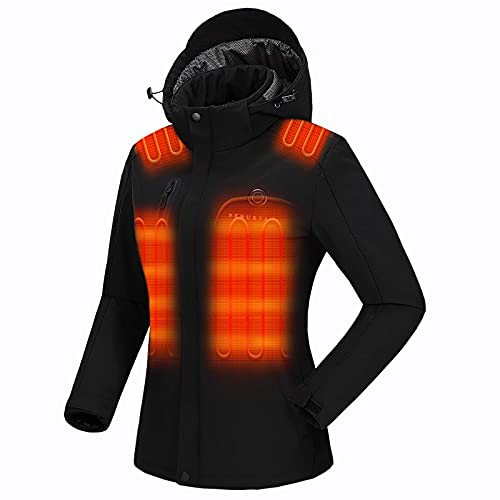 Venustas Women s Heated Jacket with Battery Pack 7.4V, Windproof Electric Insulated Coat with Detachable Hood Slim Fit Black