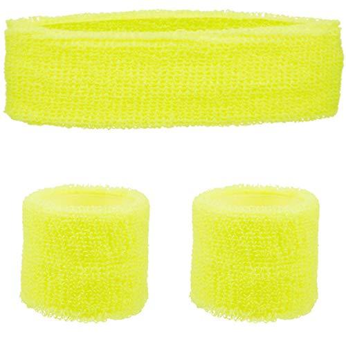 REDSTAR FANCY DRESS Stirnband & Handgelenk Satz - Neon 80s Jahre Volkslauf Team Building Event Kostüm - Gelb, One size