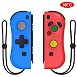 [Upgraded Version] Kinvoca Joy Con Replacement for Nintendo Switch, L/R Joy Pad, Switch Wireless Controller, Supports NFC, Console Update and Wake-Up Function - Red and Blue