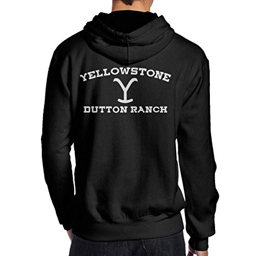 lifangtaoT Felpe con Cappuccio, Men's Dutton Ranch White Graphics Fashion Long Sleeve Hoodie Sweatshirt Hip Hop Pullover Black