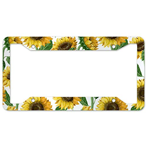 Heavy Duty Stainless Steel License Plate Frame,Sunflower Plant Watercolor Car Licenses Plate Covers with Free caps for Car US Vehicles Accessories Metal Bottom Engraved License white 16x31cm