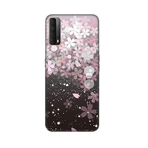ChoosEU Compatible con Funda Huawei P Smart 2021 Silicona Negro Dibujos Creativa Carcasas para Chicas Mujer Hombres TPU Case Antigolpes Bumper Cover Caso Protección - Fleur