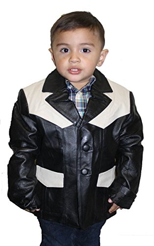 Kids Genuine Leather Casual Sports Coat Buttons Closure Blazer Jacket Black/Beige_2X Large