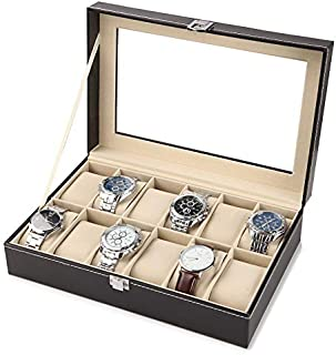 AMERTEER 6 or 12 Slot Leather Watch Box Display Case Organizer Glass Jewelry Storage Black