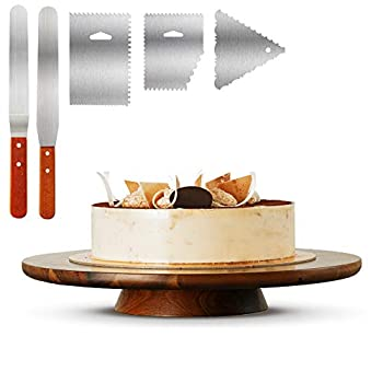 Wood Cake Stand Acacia – 13 inch Cake Stand Turntable– Revolving Cake Decorating Stand - 100% Natural ideal for Use at Parties Weddings Restaurants – Very Stable