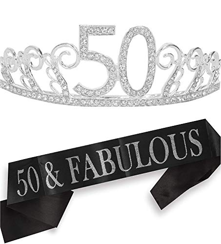50th Birthday Gifts for Women, 50th Birthday Tiara and Sash, Happy 50th Birthday Party Supplies, 50 & Fabulous Sash and Crystal Tiara Birthday Crown for 50th Birthday Party Supplies and Decorations