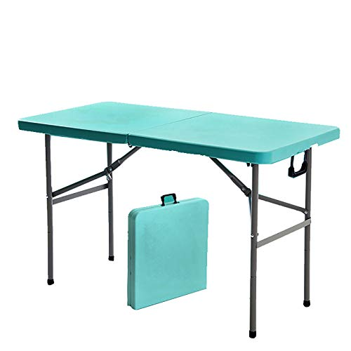 4ft Folding Camping Table,Height Adjustable Indoor Outdoor Dining Table,Portable Lightweight Utility Table with Handle Steel Frame for Picnic Backyard-Blue 120cm/47inch
