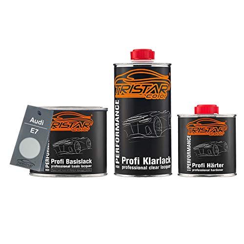 TRISTARcolor Autolack Set Dose spritzfertig für Audi E7 Prata Light Metallic/Silber Metallic Basislack + 2K Klarlack 1,25L