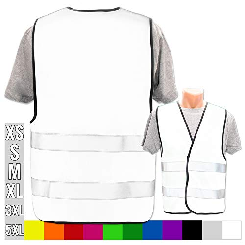 Persönliche Warnweste selbst gestalten mit eigenem Aufdruck * Bedruckt mit Name Text Bild Logo Firma, Menge:1 Warnweste, Farbe/Position:Weiß/OHNE Druck