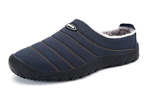 Gaatpot Unisex Adulto Invierno Zapatillas de Casa Antideslizantes Cálido Fluff Pantuflas Zapatos de Casa Interior Suave Algodón Zapatilla Azul 41EU