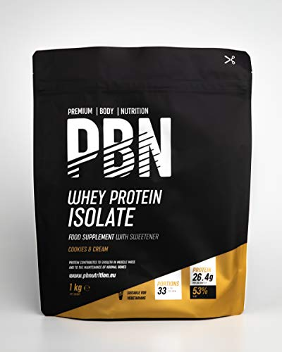 Premium Body Nutrition - Whey-ISOLATE Protein Powder, 1kg, Cookies & Cream - 33 Servings