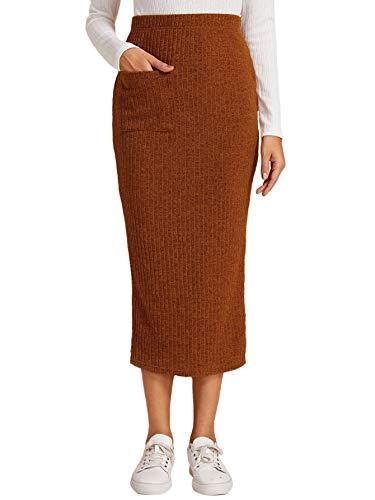 Verdusa Women's Pocket Front Split Back Bodycon Pencil Knitted Midi Skirt Camel L