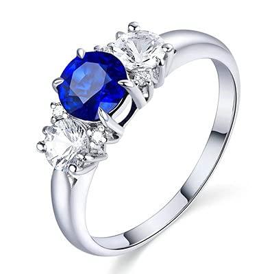 Bishilin Alianza de Boda de Oro Blanco de 18 Quilates para Mujer, Sencillo 4 Prong 0.8ct Zafiro con Diamante Anillo de Compromiso de Matrimonio Ajuste Cómodo Oro Blancotamaño: 6,75