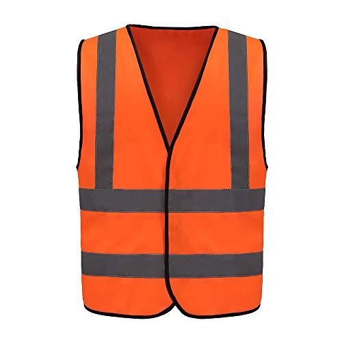 Auto Warnweste, Sicherheitsweste, Pannenweste für Auto, Fahrrad, Waschbar, arbeschutzkleidung (L, Orange)