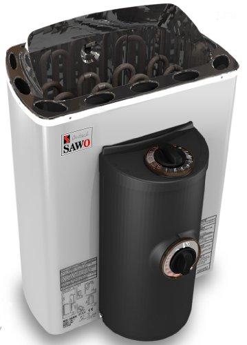 Well Solutions Saunaofen Mini 3,6kW, 230 V integrierte Steuerung vorne, Außenmantel Edelstah...