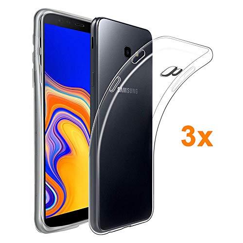 REY 3X Funda Carcasa Gel Transparente para Samsung Galaxy J4 Plus / J4+ / Galaxy J4 Core, Ultra Fina 0,33mm, Silicona TPU de Alta Resistencia y Flexibilidad