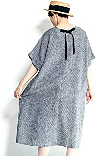 fog linen work(フォグリネンワーク)MIRJAM DRESS TOOTHHOUND CHECK ミリヤム ワンピース 白黒千鳥格子 LWA094-BKCHE
