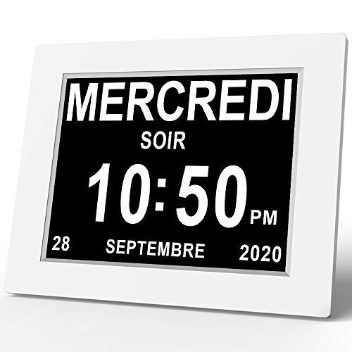 SINOIDEAS 8' Pouce LCD Horloge Numérique Calendrier avec Date Jour Et Heure Horloge Non-Abrégée Auto Dimming 8 Langues HD Display Rappel pour Alzheimer Les Personnes âgées et Les Enfants