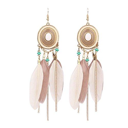 Hirolan Ohrringe Bohemian Vintage, Retro Böhmen Feder Lange Design Dream Catcher Ohrringe für Frauen Schmuck Muttertag Damen Ohrringe Lady Anhänger (Kaffee)