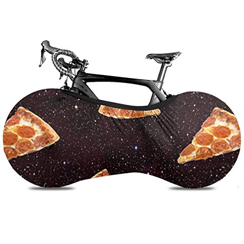 Utdestine Bicycle Wheel Cover Galaxy Pizza Universal Elastic Indoor Anti-Dust Mountain Bike Storage Bag For Road Bike, Portable Bicycle Cover Keeps Floors And Walls Dirt-Free