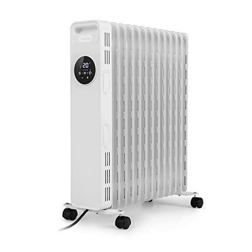 KLARSTEIN Thermaxx Heatstream - Radiatore ad Olio, Termoconvettore, Potenza: 2500 W, Fino a 50 m², Intervallo Temperatura: 5-35° C, Timer 24h On/off, Digital Display, Hyperheat, modalità Eco, Bianco