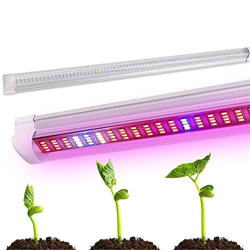 Tubo de luz LED para cultivo de plantas, tira de luces de cultivo T8, barra de lámpara de crecimiento de espectro completo para carpa interior, invernadero, jardinería, hidroponía (3 paquetes), 30 W