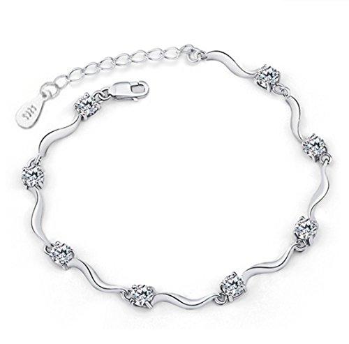 Private Twinkle - Bracelet en argent sterling 925avec zirconium blanc brillant pour femme et fille.