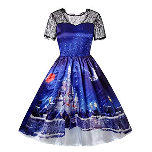yazidan🌿 Damen Weihnachten Retro Lace Vintage Kleid Eine Linie Rentier Schneeflocke Schlitten Schaukel Kleider Mädchen Langarm Party Kleid Fancy Kostüme