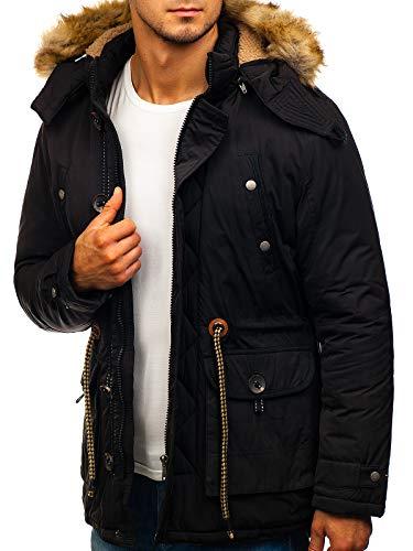 BOLF Hombre Chaqueta parka De Invierno Cierre de Cremallera y Botones Ropa de Abrigo Jacket Cazadora Plumas Ocio Deporte Fitness Estilo Deportivo 4D4