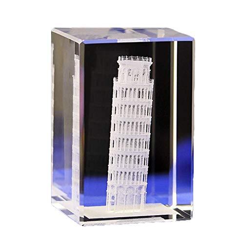 Kristall-Modell der Statue-3D Laser-Gravur-Figuren Berühmte Gebäude Skulptur Souvenir Sammlung Kunsthandwerk Wohnkultur Ornament Weihnachtsgeschenke,Pisa leaning tower