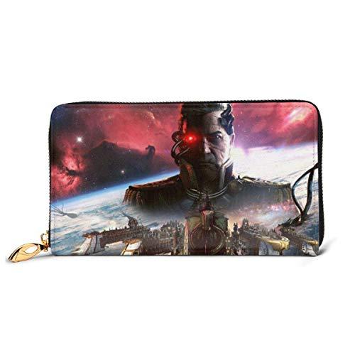 BGHYT Brieftasche Battlefleet Gothic Armada RFID Wallet Blocking Genuine Leather Wallet Zip Around Card Holder Organizer Clutch Wallet Large Capacity Purse Phone Bag for Men Women