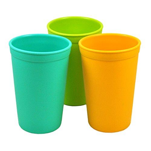 Re-Play, Kinder Trinkbecher Set, 3 Stück | BPA-frei | nachhaltig durch Recyclingmaterial | stabiles Kindergeschirr | (Aqua)