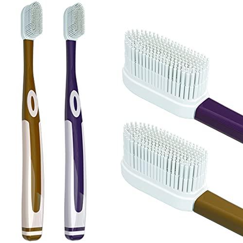 Nano Silikon Weiche Zahnbürste, 100 weiche Silika Borsten, brüchiges Zahnfleisch, Erwachsenen-Kinderzahnbürste (Gold+Lila)