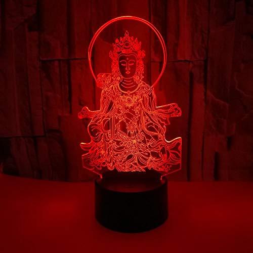 La luz nocturna Buda 3D pequeña luz nocturna toque colorido ha llevado la luz nocturna lámpara LED USB