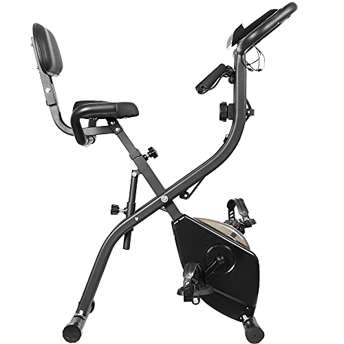 Leauta Exercise Bike ,Folding Magnetic Upright Exercise Bike with LCD Monitor ,Stationary Exercise Bike With Arm Resistance Bands for Indoor Home Use