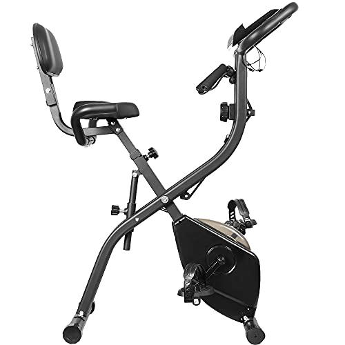 Leauta Exercise Bike ,Folding Magnetic Upright Exercise Bike with LCD Monitor ,Stationary Exercise Bike With Arm…