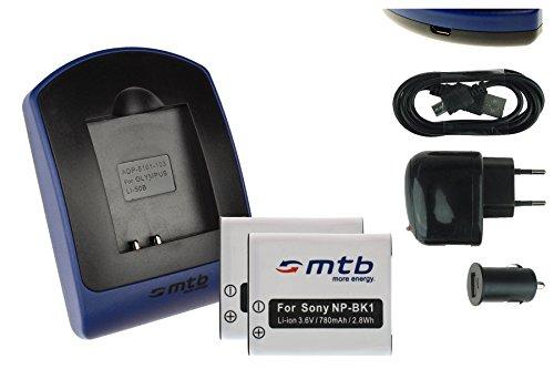 2 Baterìas + Cargador (USB/Coche/Corriente) NP-BK1 para Sony DSC-S750 S780 S950 S980...